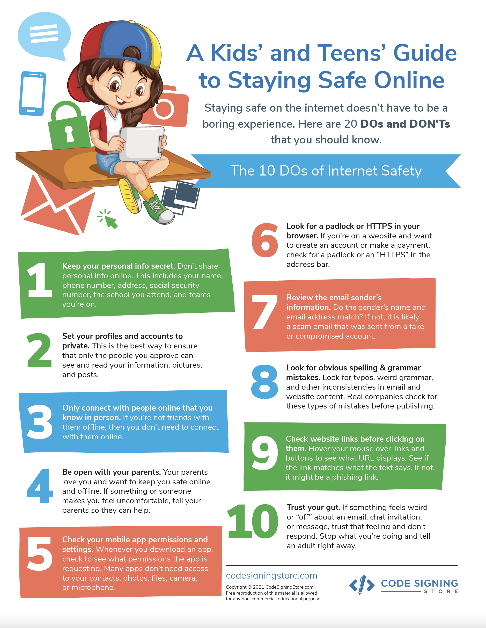 Dos and Donts of Internet Safety printout