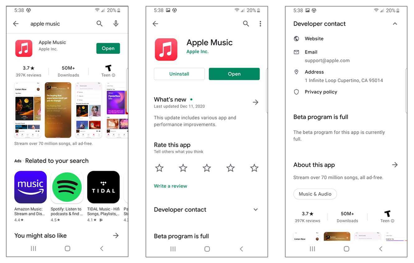 This three-part screenshot showcases how an app developer's information may appear in Google Play Store