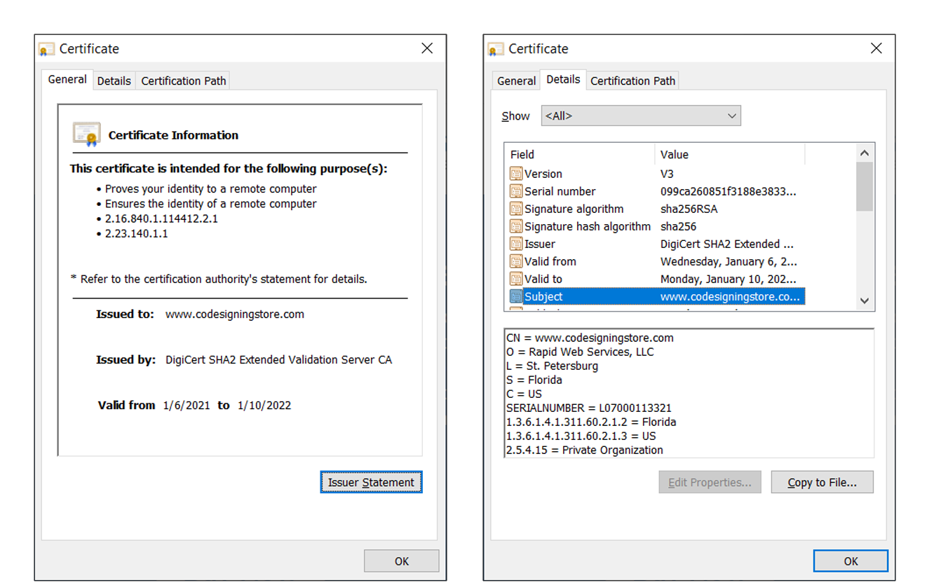 A screenshot of Certificate owner and issuer tabs