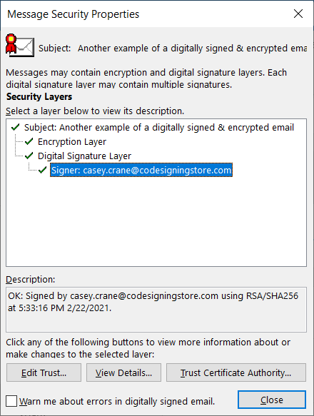 A screenshot of the message that recipients see when sent a digitally signed and encrypted email