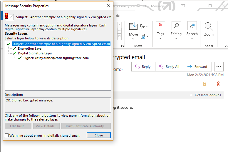 A screenshot of email's security-related information