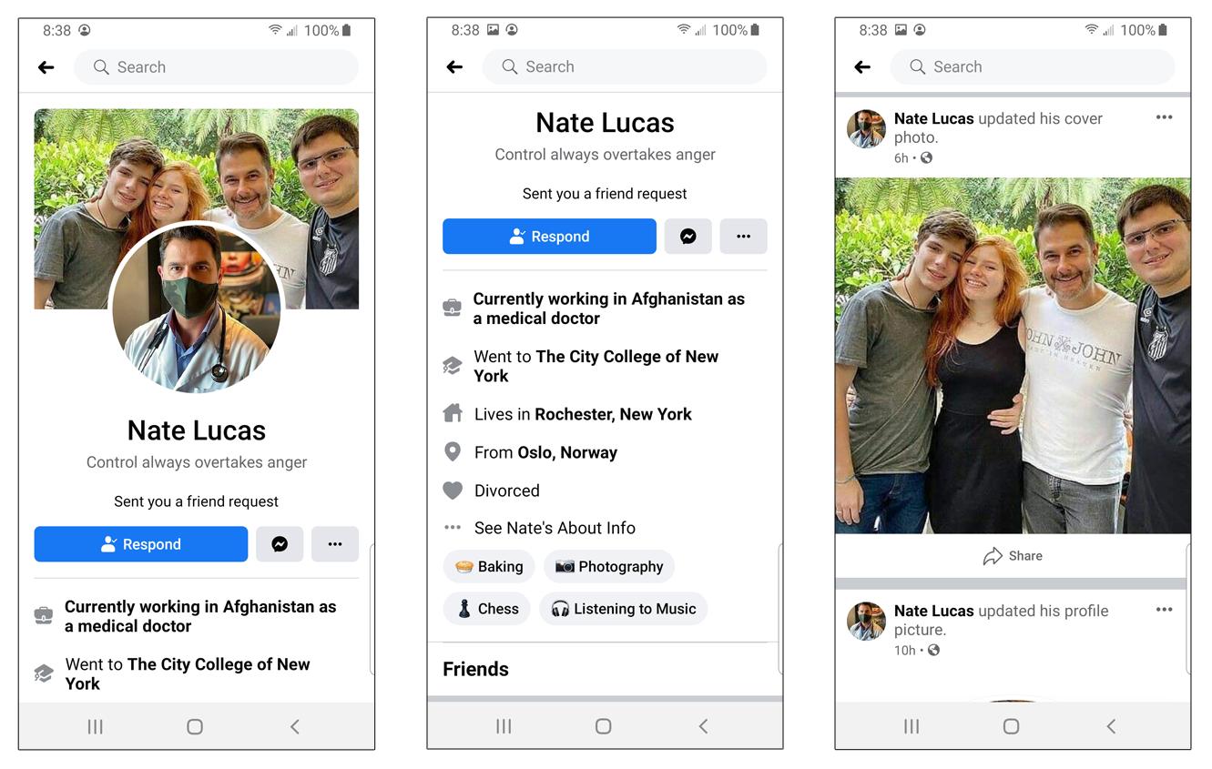 Screenshots of a fake Facebook profile