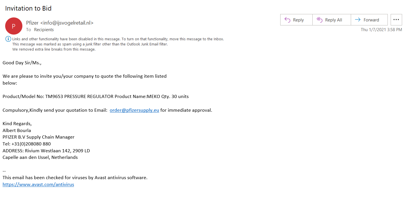A screenshot of phishing email example