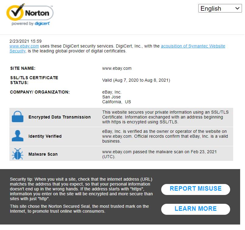 A screenshot of Norton trust badge information for the website eBay.com