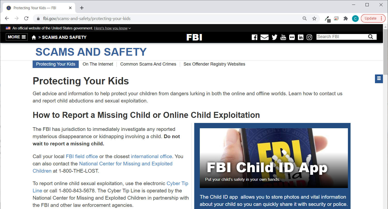 FBI website - Scams And Safety