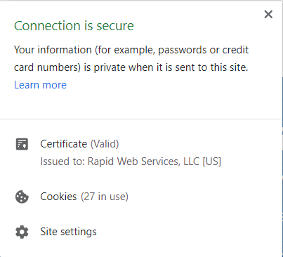 A screenshot of SSL digital identity info - Connection is secure