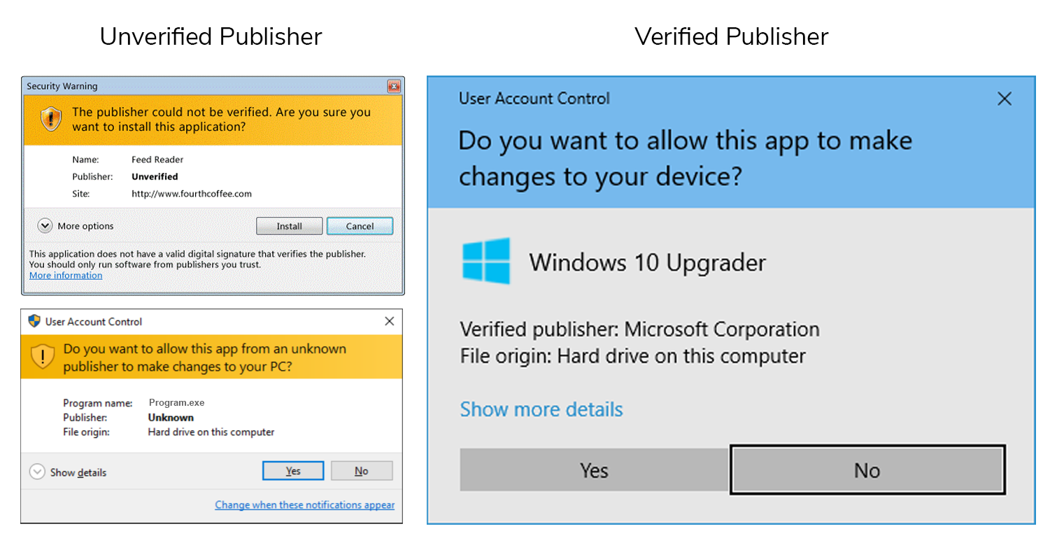 Screenshots of an example of verified and unverified publisher